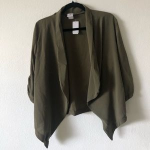Olive green open cardigan